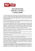 UNE AUTRE POLITIQUE POUR L'ART, LA CULTURE…. ET POUR LA FRANCE.