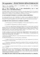 28 septembre - ÉLECTIONS SÉNATORIALES : NON À LA FINANCE, NON À L'AUSTÉRITÉ, NON À UNE RÉFORME  LIBÉRALE DES TERRITOIRES.