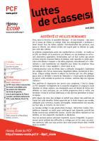 luttes de classe(s) - journal du réseau école du PCF - avril 2015