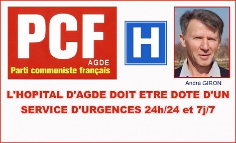 AGDE- L'HOPITAL D'AGDE DOIT ETRE DOTE D'UN SERVICE D'URGENCES 24h/24 et 7j/7