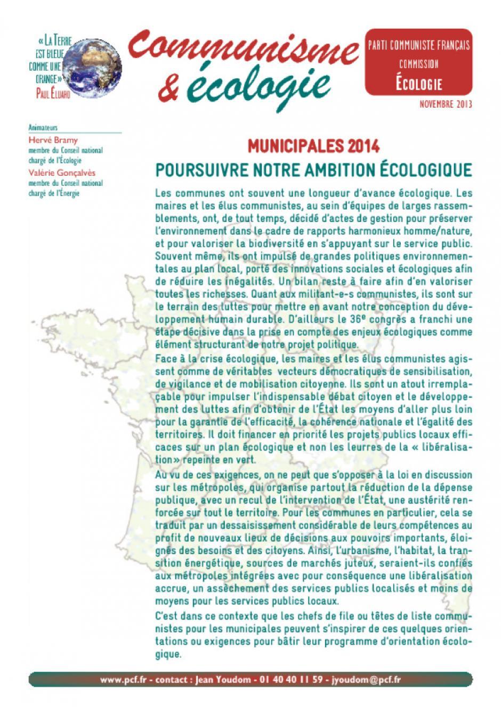 Municipales 2014 : poursuivre notre ambition écologique !