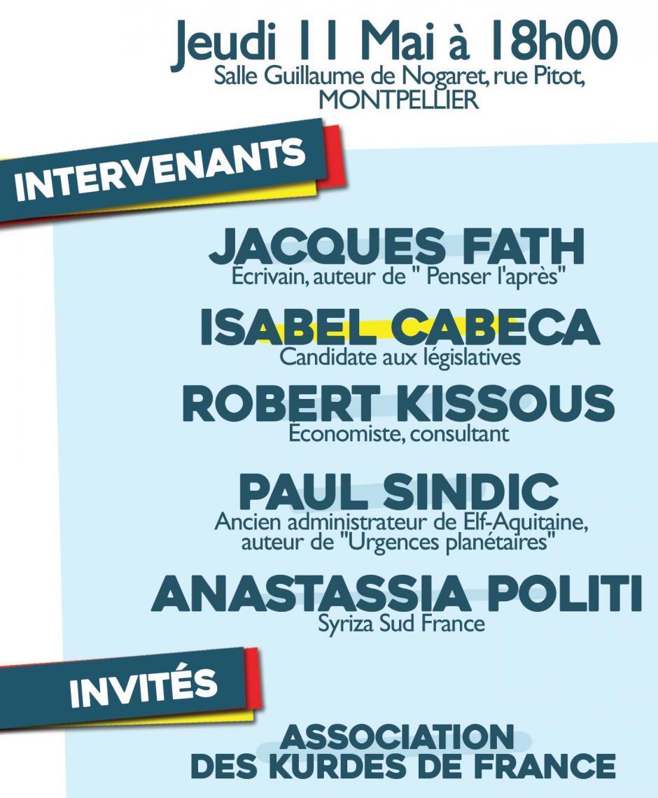 Montpellier - Salle Guillaume de Nogaret : Capitalisme mondialisé, le casseur de l'humanité Conférence-débat dans le cadre de la campagne de Isabel Cabeca et Romain Barbazange