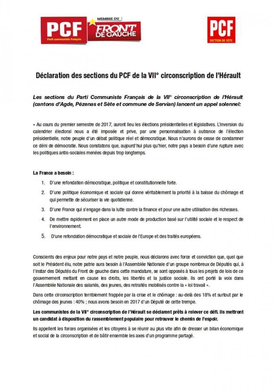 Légilsatives 2017 : Déclaration des sections du PCF de la VII° circonscription de l'Hérault