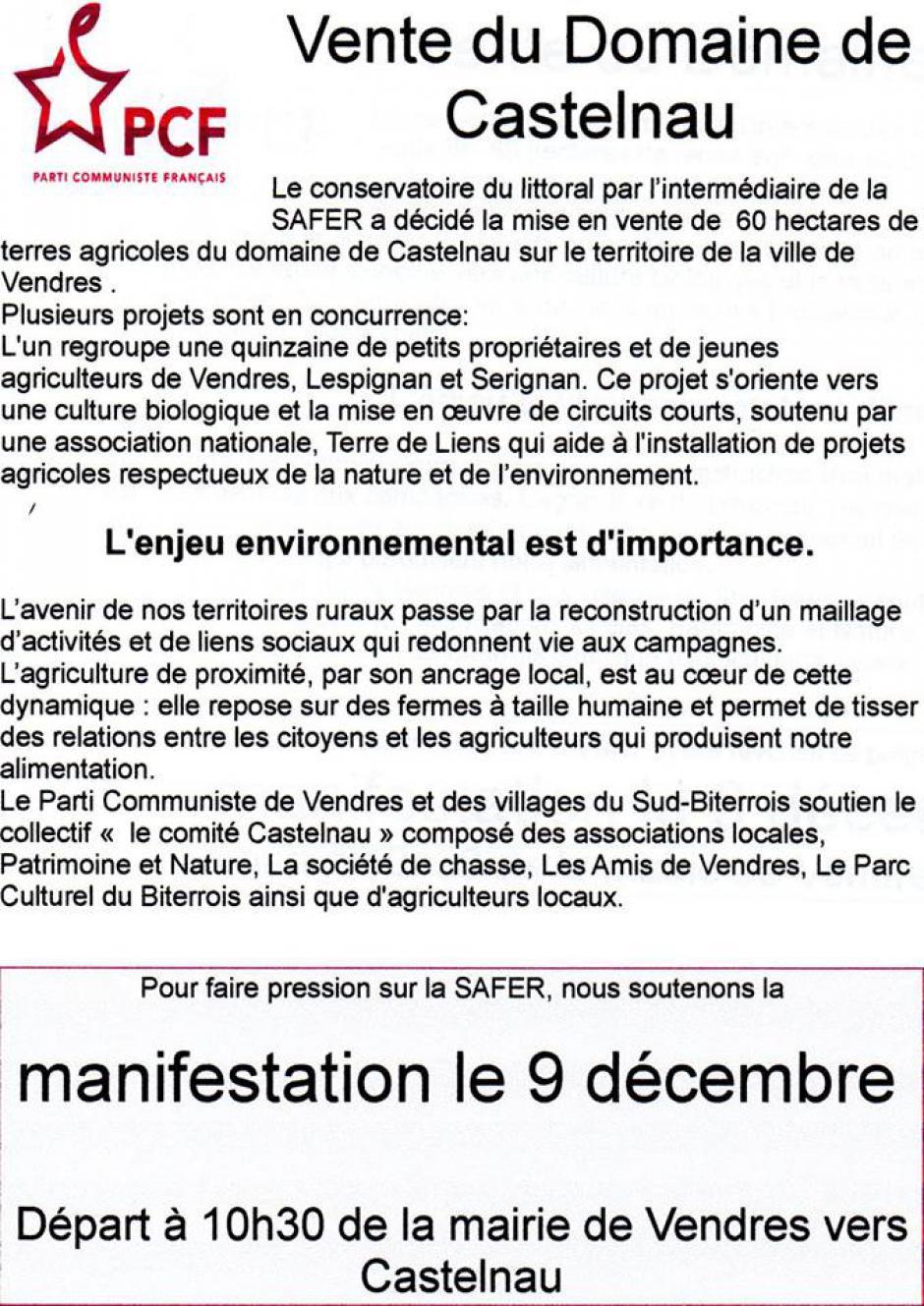 Vendres - Mairie - 10h30 : Manifestation contre la vente du domaine de Castelnau