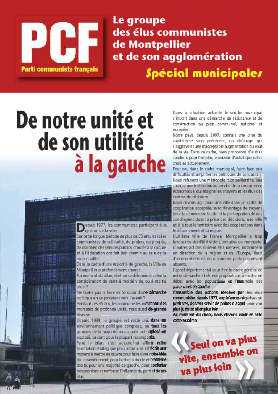 Bilan des élus et élues de Montpellier : De notre unité et de son utilité à la gauche.