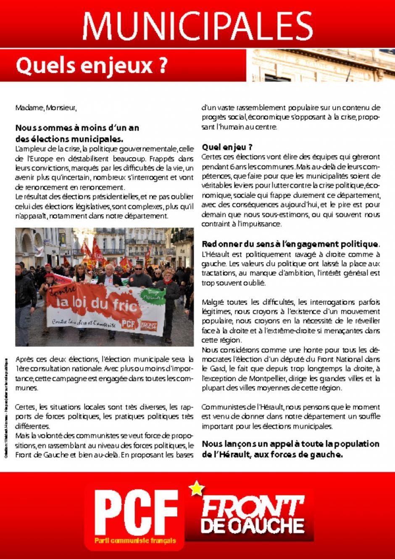 Municipales 2014 : l'adresse des communistes de l'Hérault à la population du département et aux forces de gauche.