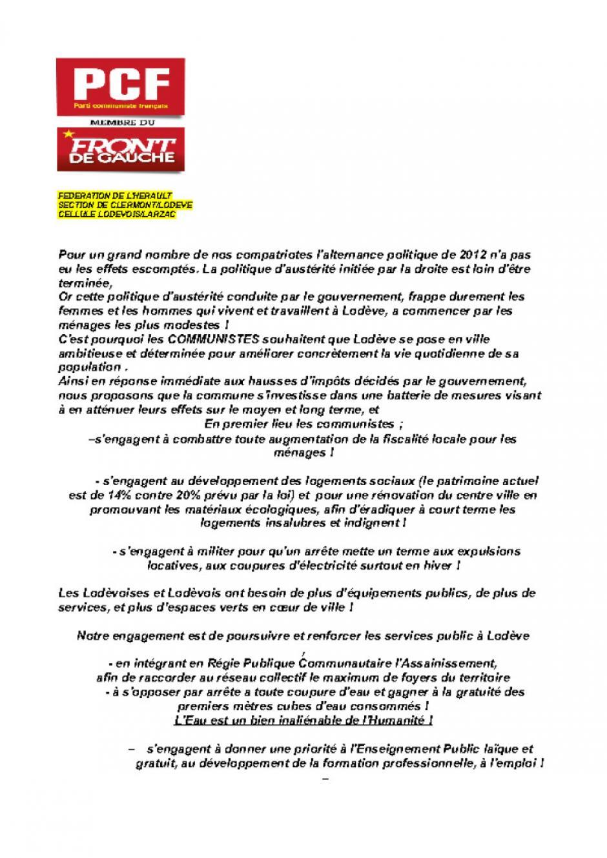 Municipales 2014 : communiqué de presse et programme pour la ville de Lodève.