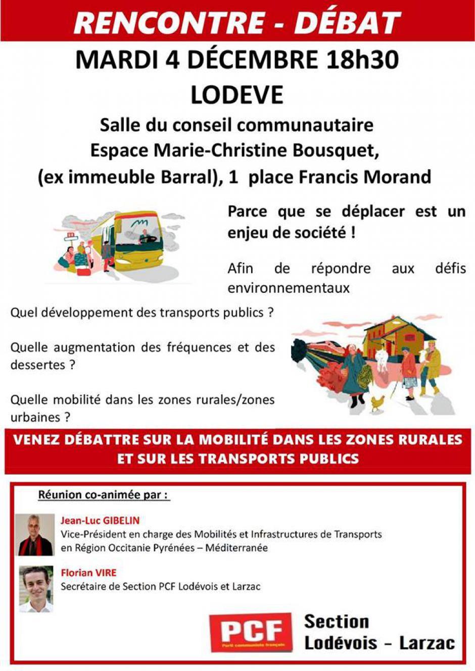 Lodève - Espace Marie-Christine Bousquet : rencontre débat sur me thème LA MOBILITÉ DANS LES ZONES RURALES ET SUR LES TRANSPORTS PUBLICS